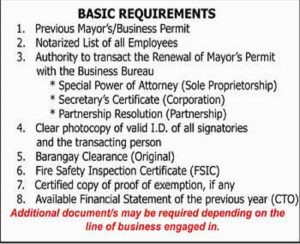 ONE – STOP SHOP BUSINESS PERMIT RENEWAL 2017