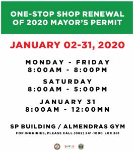 Office Hours for the Renewal of Mayor's Permit – January 2-31 2020