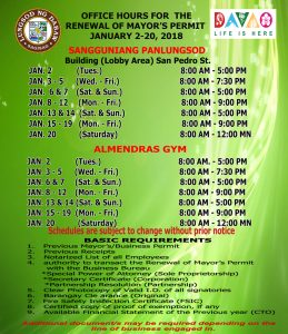 Office Hours for the Renewal of Mayor's Permit – January 2-20 2018